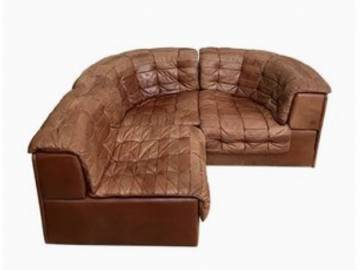 DeSede Ds-11 Livingroom Set in Cognac Patchwork Leather, 1970s.