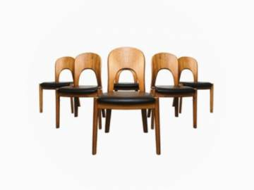 Set of 6 Teak Danish Chairs by Niels Koefoed, 1960s.
